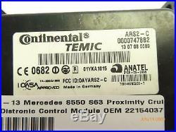 07-13 Mercedes S550 S63 Proximity Cruise Distronic Control Module OEM 2215403762